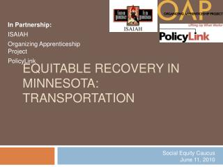 Equitable Recovery in Minnesota: Transportation