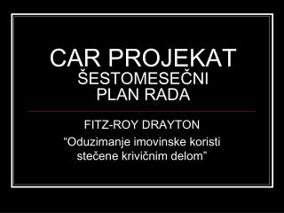 CAR PROJE KA T ŠESTOMESEČNI  PLAN RADA