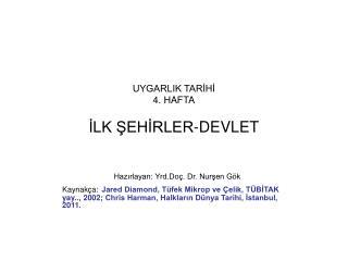 UYGARLIK TARİHİ  4. HAFTA İLK ŞEHİRLER-DEVLET