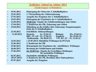 Zeitlicher Ablauf im Abitur 2012 (Änderungen vorbehalten)
