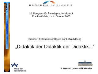 V. Wenzel, Universität Münster
