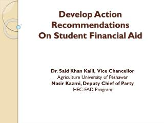 Develop Action Recommendations On Student Financial Aid