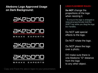 Akebono Logo Approved Usage  on Dark Background: