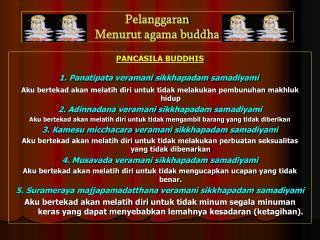 Pelanggaran Menurut agama buddha