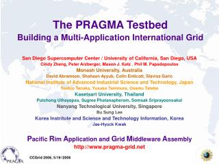The PRAGMA Testbed Building a Multi-Application International Grid