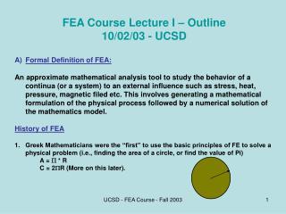 UCSD - FEA Course - Fall 2003