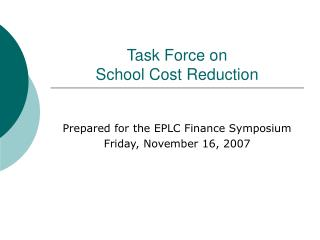Task Force on  School Cost Reduction