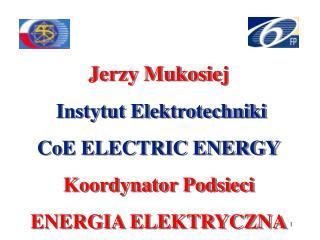 Jerzy Mukosiej  Instytut Elektrotechniki CoE ELECTRIC ENERGY Koordynator Podsieci