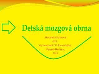 Alexandra  Katinová III.L Gymnázium  J.G.Tajovského ,  Banská Bystrica, 2013