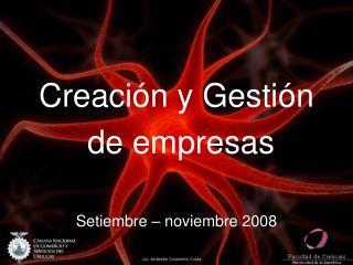 Creación y Gestión  de empresas Setiembre – noviembre 2008