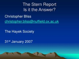 The Stern Report Is it the Answer?