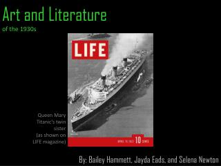 Art and Literature  of the 1930s