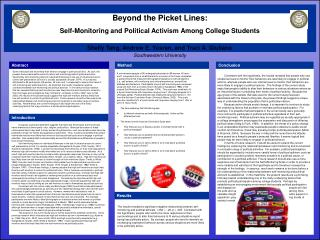 Beyond the Picket Lines:   Self-Monitoring and Political Activism Among College Students