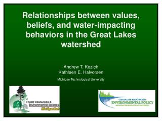 Relationships between values, beliefs, and water-impacting behaviors in the Great Lakes  watershed