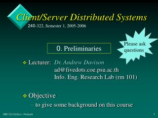 Client/Server Distributed Systems
