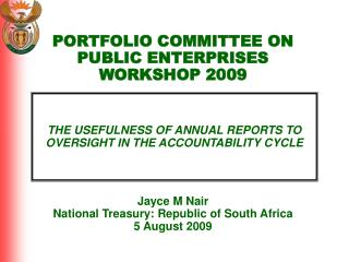 THE USEFULNESS OF ANNUAL REPORTS TO OVERSIGHT IN THE ACCOUNTABILITY CYCLE