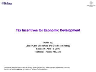 Tax Incentives for Economic Development