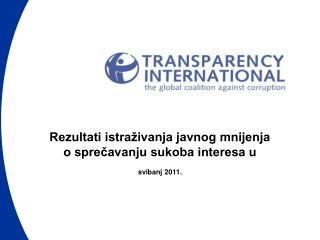 Rezultati istraživanja javnog mnijenja  o sprečavanju sukoba interesa u svibanj 2011.