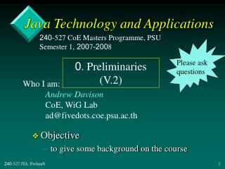 Java Technology and Applications