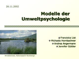 Modelle der Umweltpsychologie