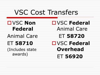 VSC Cost Transfers