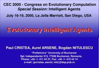 "Paul CRISTEA,  Aurel ARSENE, Bogdan NITULESCU ""Politehnica"" University of Bucharest"