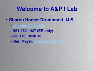 Welcome to A&P I Lab