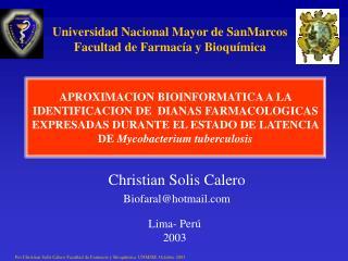 Christian Solis Calero Biofaral@hotmail