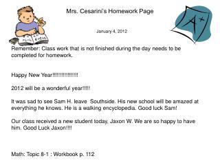 Mrs. Cesarini's Homework Page