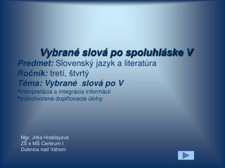 Mgr. Jitka Hrablayová ZŠ s MŠ Centrum I Dubnica nad Váhom