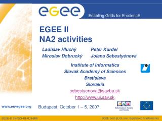 EGEE II NA2 activities