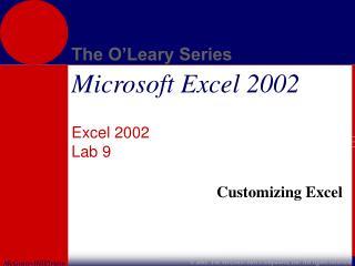 Excel 2002 Lab 9