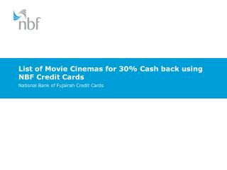 List of Movie Cinemas for 30% Cash back using NBF Credit Cards