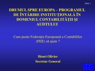 DRUMUL SPRE EUROPA – PROGRAMUL DE ÎNTĂRIRE INSTITUŢIONALĂ ÎN DOMENIUL CONTABILITĂŢII ŞI AUDTULUI