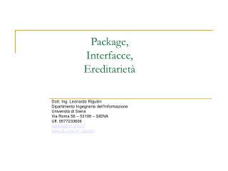 Package, Interfacce, Ereditarietà