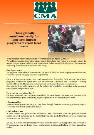 Why partner with Comunidade Mocambicana de Ajuda (CMA)?
