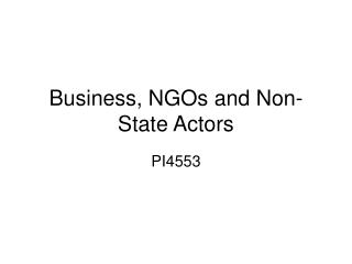 Business, NGOs and Non-State Actors