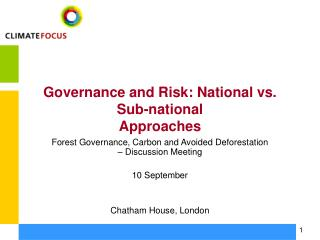 Governance and Risk: National vs. Sub-national Approaches