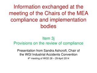 Presentation from Sandra Ashcroft, Chair of the WGI Industrial Accidents Convention