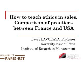 How to teach ethics in sales. Comparison of practices between France and USA