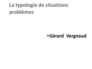La typologie de situations problèmes