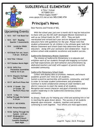 10/3 - 10/7  Fall Book Fair 10/4 – 10/7   Reading             Quarter 1 Assessments