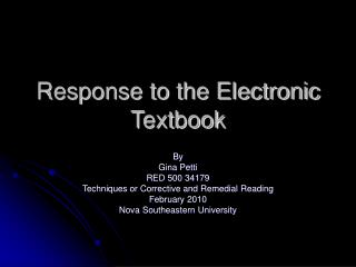 Response to the Electronic Textbook