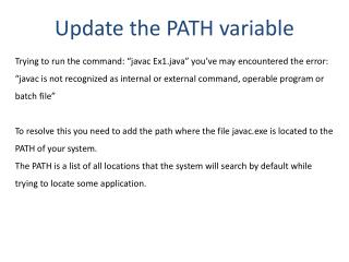 Update the PATH variable