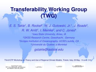 Transferability Working Group (TWG)