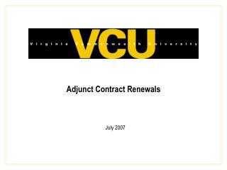 Adjunct Contract Renewals