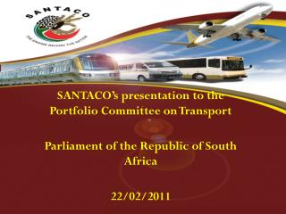 SANTACO's presentation to the Portfolio Committee on Transport