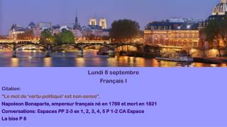 Lundi  8  septembre Français  I Citation: