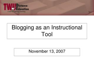 Blogging as an Instructional Tool