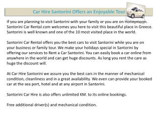Santorini Car Hire Making Your Tour Enjoyable